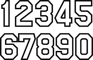 Popular Jersey or uniform number set 0 through 9  S Block